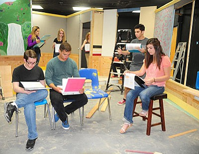 Chino Valley drama students Trevor Kuntze, Chloe Vallejo, Paige Achten, David Lemcke, Adrianna Olson, Jamison Shawver and Jordan Ownby rehearse their lines for the upcoming production of 'The Clone People' that is scheduled to run April 28-30 at the school's mini-auditorium. (Les Stukenberg/PNI)