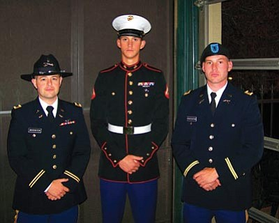 Courtesy photo<br> CW2 Whitney G. Grovenstein, CPL Ezekiel W. Grovenstein and 2LT Emory L. Grovenstein attend the Embry-Riddle Aeronautical University Commissioning Ceremony.