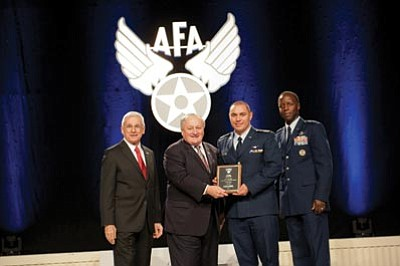 Courtesy photo<br>From left, Air Force Association Chairman of the Board Sandy Schlitt; AFA Vice Chairman of the Board for Aerospace Education George Muellner; and Cadet Colonel Matthew Stezenski; and General Edward Rice, Commander, Air Education and Training Command.