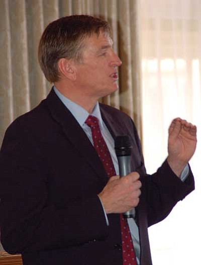 Joanna Dodder/The Daily Courier<br> U.S. Rep. Paul Gosar, R-AZDistrict 1, makes a point at the Yavapai County Republican Men's Forum on Monday.
