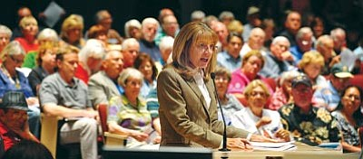 Les Stukenberg/The Daily Courier<br>Arizona State Representative Karen Fann speaks before members of the Arizona Redistricting Committee during a public forum Oct. 17 at the Prescott Valley Public Library. Fann said she wants Yavapai County as a whole to remain completely in one district and, for historical reasons, that district should remain named District One.