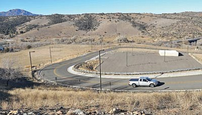Matt Hinshaw/The Daily Courier<br> A pickup truck drives past the future site of the Cultural Center below the Prescott Resort Friday afternoon. The Yavapai-Prescott Indian Tribe  is currently looking for a contractor to build the facility.