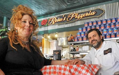 Matt Hinshaw/The Daily Courier<br> Rosa and Domenick Anzelmo, owners of Rosa's Pizzeria, opened their Italian restaurant with Sicilian flair this past June in downtown Prescott.