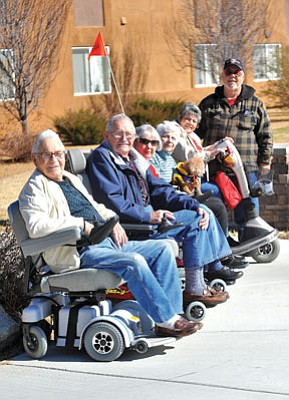 Matt Hinshaw/The Daily Courier<br>From left to right, Armond Alarie, Dennis Riesberg, Bea Lee, Donna Duran and Peggy Petrillo were recently given scooters to help with their mobility from the Shining Star Program. The five recipents are either veterans or spouses of veterans.