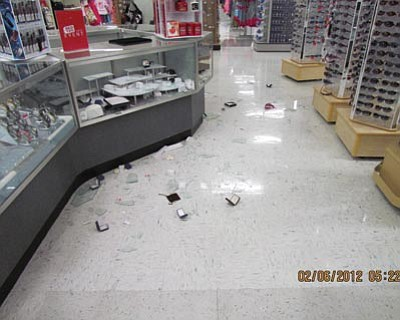 Prescott Valley Police Department/Courtesy photo<br>Prescott Valley police officers found broken jewelry cases and missing jewelry after answering a call about an alarm going off at the Kmart on State Route 69.