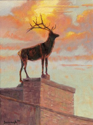 "Courtesy photo<br>""Prescott's Guardian,"" a painting of the elk on top of the Elks Opera House by Sheila Savannah, is among artwork contributed by 10 professional artists in ""A Centennial Canvas: Paintings by Contemporary Prescott Artists,"" which open Saturday at the Sharlot Hall Museum in honor of Arizona's 100th anniversary of statehood."