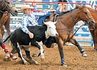 Prescott Frontier Days World's Oldest Rodeo Steer Wrestling --- Rusty Hamilton.<br> The Daily Courier, file photo/Matt Hinshaw