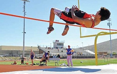 Matt Hinshaw/The Daily Courier, file photo<br /><br /><!-- 1upcrlf2 -->Former Bradshaw Mountain athlete James Reyes competes in the high jump at the Yavapai County Track and Field Championship April 29, 2011, at Bradshaw Mountain High School in Prescott Valley.