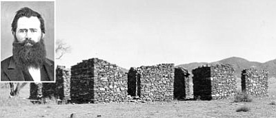 Sharlot Hall Museum/Courtesy photos<br>King S. Woolsey, inset, circa 1870s, and ruins of his Agua Fria Ranch along the Old Black Canyon Highway near Humboldt, circa 1950s. The ruins look much the same today. The ranch was a base of operations for many expeditions to fight the Indians of central Arizona Territory.