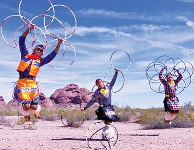 Courtesy photo<br> Hoop dancers, featuring world champion Tony Duncan and the Yellowbird Dancers, will highlight Smoki Museum's Southwest Indian Arts Festival Saturday and Sunday. The fest will also offer nearly 35 artists and Navajo weavers showing their works and demonstrating their artistry.