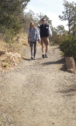 Les Stukenberg, file/The Daily Courier<br /><br /><!-- 1upcrlf2 -->Elaine and Warren Tracy of Prescott hike down the Thumb Butte Loop trail March 25, 2004.