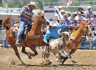 Les Stukenberg/The Daily Courier, file photo<br /><br /><!-- 1upcrlf2 -->Dean McIntyre jumps off his horse and onto a calf July 4, 2010, at the World's Oldest Rodeo in Prescott.