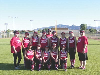 Courtesy Photo<br /><br /><!-- 1upcrlf2 -->The Prescott Valley Little League Major's 11-12 All-Star team poses for a team photo. Top row, from left to right, are coach Celina Ramirez, Jaclyn Cole, McKaylee Dodge, Haley Young, coach Brandon Ramirez, Dianna Padilla, Margaux Sarno, Cammi Duncan and team manager Carey Young. Bottom row, from left to right, are Angie Ramirez, Courtney Stahley, Jamie Peterson, Bailey Kittel and Taidyme Routh.