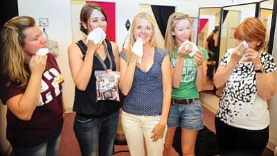 Les Stukenberg/The Daily Courier<br> Five women take on a month without makeup as a personal challenge. They are, from left, Candice Smith, Smart Girls co-owner JoAnne Golleher, life coach Robyn Coffman, Christina Horn and Susan Shields.