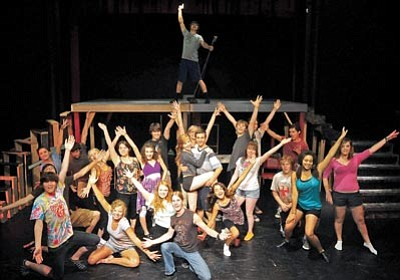 "Matt Hinshaw/The Daily Courier<br> Prescott Center for the Arts' Teen Summer Stock Ensemble rehearses ""Grease,"" a movie and Broadway hit Tuesday afternoon in Prescott."