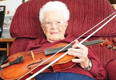 Brett Soldwedel/The Daily Courier, file<BR> Ruth Gilpin. a prolific fiddler, began playing Prescott's Acker Night in the early 1990s.