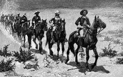 "Courtesy image<br> Dr. Thomas Phillips and Dr. John Langellier will conduct a presentation on ""Black Soldiers in the Arizona Territory, as Depicted in the Historical Record and the Art of Frederick Remington.""  Above is Remingon's ""Marching in the Desert with the Buffalo Soldiers."""