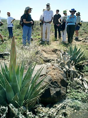 Courtesy BLM<br>Connie Stone, at left in the foreground, a former Agua Fria National Monument archaeologist,  leads a tour at Badger Springs Pueblo.