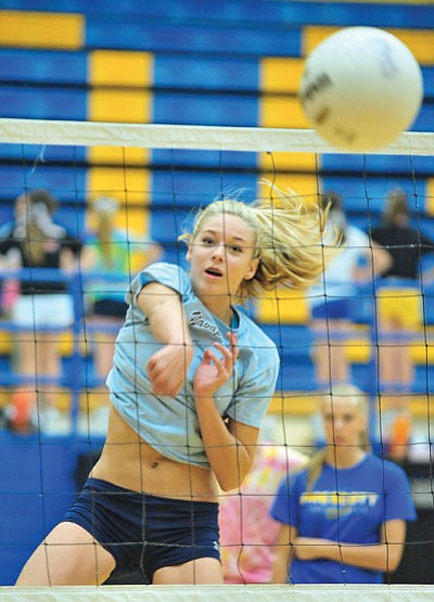 Matt Hinshaw/The Daily Courier<br>Prescott High School freshman outside hitter Raphael Temple works on her technique Tuesday afternoon during practice at PHS.