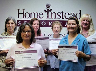 Six Home Instead Senior Care staff and caregivers, from left, Catherine Roberts, Debbie Ramsey, Amy Skeel, Audrey Rodgers, Helen Mendoza, and Client Care Manager Caroline Pruett, recently completed The Alzheimer's Disease or Other Dementias CARE class.
