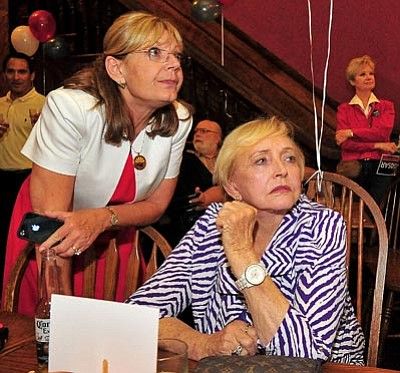 Matt Hinshaw/The Daily Courier<br> Incumbent State Representative Karen Fann and her mom Silvia anxiously await the restuls from Karen's race Tuesday night at the Palace Restaurant and Saloon in downtown Prescott.