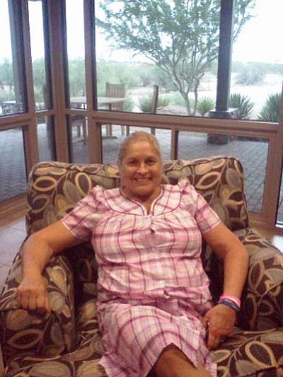 Courtesy photo<br> Joan Joanou of Prescott Valley is recovering from a kidney transplant in a casita on the grounds of the Mayo Clinic in Scottsdale.