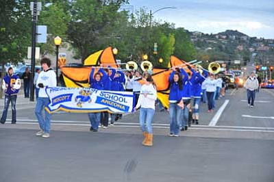Les Stukenberg/The Daily Courier<br> Students take part in the 2011 Prescott High School Homecoming Parade on Cortez Street. The theme of this year's festivities is Prescott Pride is Wild.