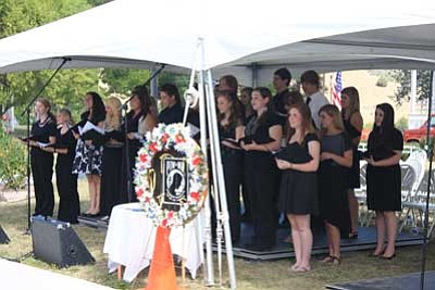 Courtesy Northern Arizona Veterans Affairs Medical Center<br> The Prescott High School Show Choir performed a medley of patriotic songs during the POW/MIA recognition day ceremony on Friday at the Bob Stump Memorial Veterans Affairs Medical Center.