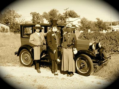 Courtesy YCA<br>Some of the historic characters visitors will encounter at Saturday's Citizens' Cemetery Walk include, left to right, Yavapai County Sheriff James Nichols (John Larkin), Judge J.H. Wright (Tom Anderson), and the judge's wife Mary (Kate Anderson).