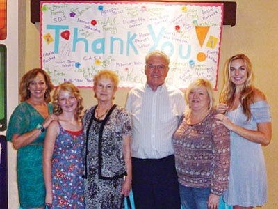 Courtesy Teens' Closet<br>Krystal Koons, far left, co-founder of Teens' Closet with Kaileigh Koons, far right, honored volunteer Sarah Jane Schott, next left, donors Myrna and Jack Gifford, center, and volunteer Rachel Freeman, right, during the first annual luncheon for Teens' Closet on Sunday, Sept. 30 at American Lutheran Church in Prescott.