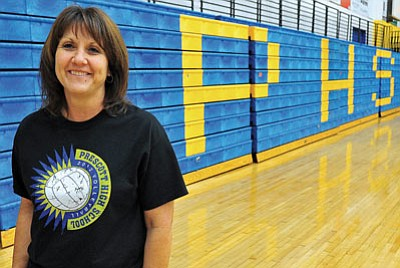 Matt Hinshaw/The Daily Courier<br>All-Courier Volleyball Coach of the Year Shellie Bowman kept the Badgers competitive in a transition year in which the team missed the state playoffs by a fraction of a power point.