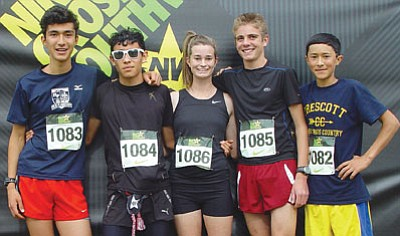Courtesy photo<br>From left, Vince Arminio, Hosava Kretzmann, Claren Fraher, Simon Paige and Luke Arminio represented PHS at this past weekend's Nike Southwest Regionals in Mesa.