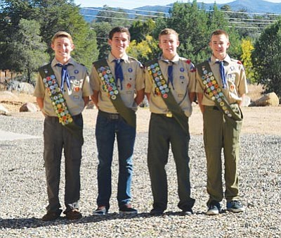 Quenten Benner, Zane Galpin, Tanner Koons and Trey Rothfuss recently became the newest Eagle Scouts of Troop 6 in Prescott. They have been in the same scout patrol since Tigers (first grade). All four boys are sophomores at Prescott High School. They completed four different Eagle projects that all benefited Granite Mountain Middle School, making the sixth-grade play area a useful and safe place. They could not have done it without the major contributions of Fann Contracting, Rogue Landscaping, MS Construction, Hanson Concrete, Tryco Concrete Pumping, RBlume Underground, Arizona Public Service and Galpin Ford.
