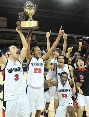 Les Stukenberg/The Daily Courier<br>The Orme Warriors won the AIA boys basketball Class 1A state championship in 2011. In part because of that win with that roster, the AIA in 2012 cracked down on foreign players' eligibility, and Orme School left the AIA.