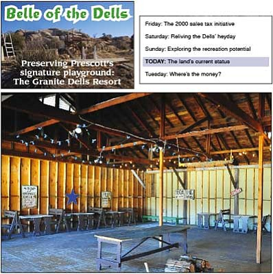 Matt Hinshaw/The Daily Courier<br> The east side of the Granite Dells Resort dance hall. Property owner Mark Wirth said the floor and tables in the fabled resort were covered in bat guano when he purchased it in the late 1990s.