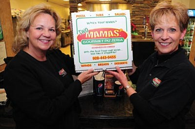 Les Stukenberg/The Daily Courier<br> Denise Edmondson and Cindy Weaver bought the former Mama Eddas Gourmet Pizza and renamed it Two Mama's Gourmet Pizzeria in downtown Prescott.