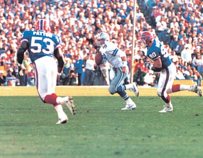 Dallas Cowboys Archives/Courtesy<br> Troy Aikman and the Dallas Cowboys blew out the Buffalo Bills 52-17 in Super Bowl XXVII. That game, played at the Rose Bowl in Pasadena on Jan. 31, 1993, was originally scheduled to be played in Arizona.