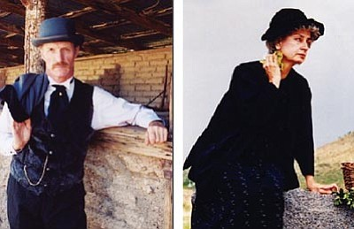 Courtesy photos<br> Wyatt and Terry Earp portray Doc Holliday and Big Nose Kate in two productions benefiting Sharlot Hall Museum this weekend.