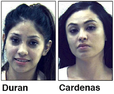 Lizeth Duran, 22, and Nancy Cardenas, 23, allegedly used or tried to use counterfeit $100 bills at Alberston's, Fry's and Kohl's