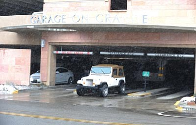 Les Stukenberg/The Daily Courier<br>Within the next two weeks, the city expects to change the configuration of the downtown parking garage's entrance.