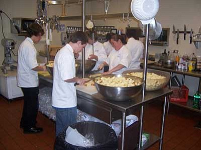 Courtesy photo<br> Students with the Chino Valley Culinary Arts program volunteered this past weekend to prepare and serve the food for the Prescott Meals on Wheels volunteer-appreciation dinner.