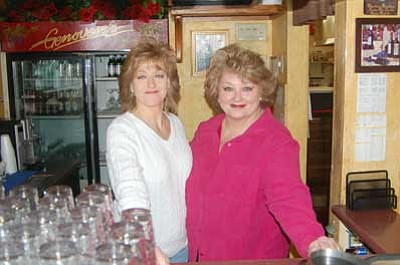 Ken Hedler/The Daily Courier<br> Audrey Orefice, left, and Catherine Giacobbe, owners of Genovese's Italian Restaurant, stand behind the bar in the restaurant, which has seating for 80 people.