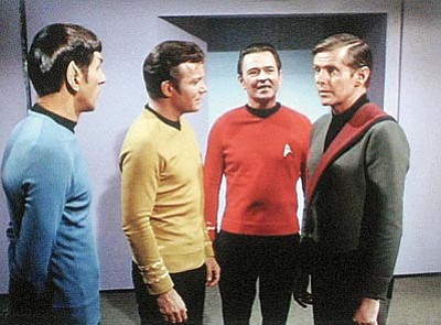 "Photo courtesy of David Frankham<br> Left to right are Leonard Nimoy, William Shatner, James Doohan and David Frankham in a scene from ""Star Trek."" Frankham will visit Prescott April 19–21 as part of Prescott Film Festival's Sci-Fi Mini-Fest."