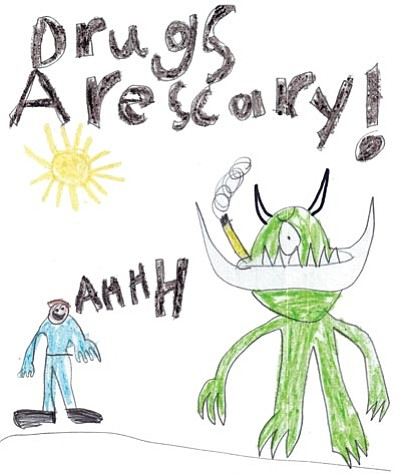 Courtesy images<br> Anti-drug posters by Clay Bowers, 6, of Dr. Daniel Bright Elementary School and Amy Owings, 17, of Prescott High School are the grand prize winners of MATForce's 2013 youth poster contest.