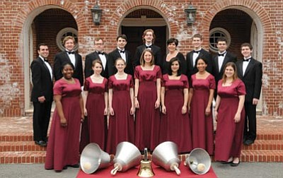 Courtesy photo<br> The Westminster Concert Bell Choir, conducted by Kathleen Ebling Shaw, will perform at the American Lutheran Church on Friday. The choir performs on the world's largest range of handbells.