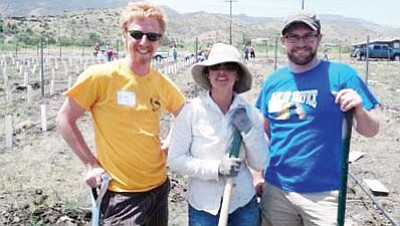 Courtesy photo<br /><br /><!-- 1upcrlf2 -->Pictured from left to right: Mike Dummeyer, Jerome Mayor Nikki Check and Ben Olsen in Plant a Vine Day.