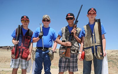 Les Stukenberg/The Daily Courier<br>Lewis Aul, Colton Underwood, Austin Reynolds and Luke Poteat are members of the Prescott Bird Busters' Intermediate Advanced skeet shooting squad.