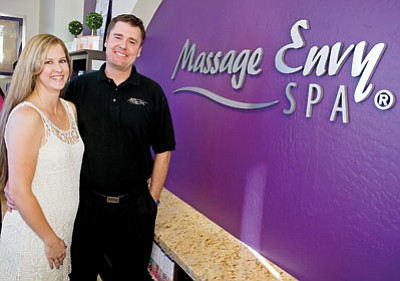 Matt Hinshaw/The Daily Courier<br> Kerry-Lyn and Mark Love opened Massage Envy Spa this past May in the Depot Marketplace shopping plaza in downtown Prescott.  The Massage Envy Spa specializes in customized massages and healthy skin facials.