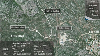 Interactive map shows Yarnell Hill fire's path | The Daily Courier