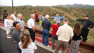 Les Stukenberg/The Daily Courier<br> Prescott Valley Town Council, staff and interested citizens take a tour and get a look at some of the 22 acres of land behind Sam's Club that the council is considering purchasing from Kitchell to create more open space in Prescott Valley.
